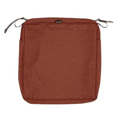 Montlake FadeSafe 23 in. W x 23 in. D x 3 in. H Square Patio Dining Seat Cushion Slip Cover in Heather Henna Red