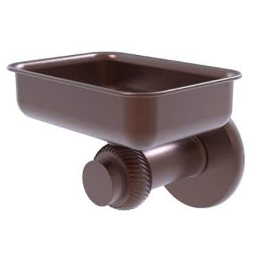 Mercury Collection Wall Mounted Soap Dish with Twisted Accents in Antique Copper