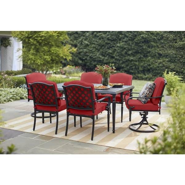 Hampton Bay Laurel Oaks 7 Piece Brown, Red Patio Table Set