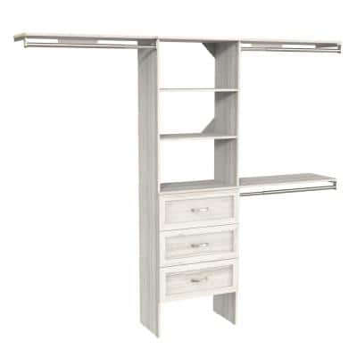 Style+ 73.1 in W - 121.1 in W Bleached Walnut Shaker Style Basic Plus Wood Closet System Kit