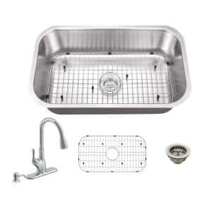 All-in-One Undermount 16-Gauge Stainless Steel 29-3/4 in. 0-Hole Single Bowl Kitchen Sink with Pull Out Kitchen Faucet
