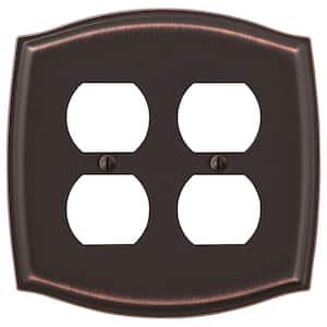 Vineyard 2 Gang Duplex Steel Wall Plate - Aged Bronze