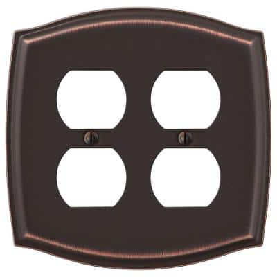 Vineyard 2 Gang Duplex Steel Wall Plate - Aged Bronze
