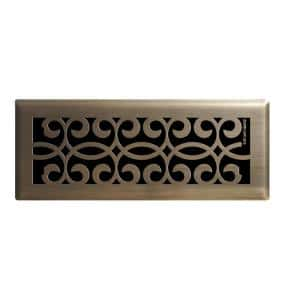 Hampton Bay Classic Scroll 2 In X 10 In Steel Floor Register In Antique Brass E1401 Ab 02x10 The Home Depot