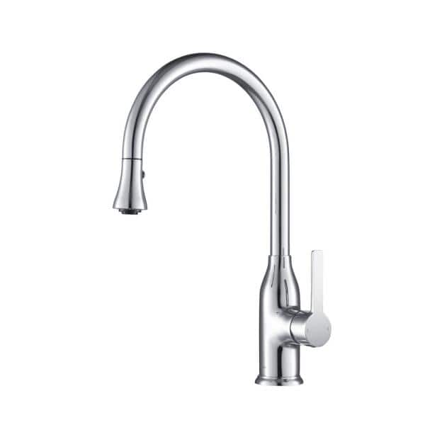 Stufurhome Everton Gooseneck 1 8 Gpm Calgreen Single Handle Pull Out Sprayer Kitchen Faucet In Chrome St1400ch The Home Depot