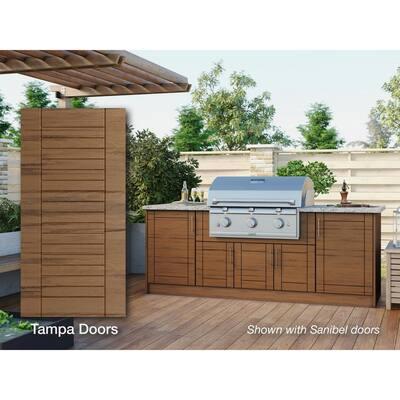 Tampa Teak 14-Piece 91.25 in. x 34.5 in. x 28.5 in. Outdoor Kitchen Cabinet Island Set