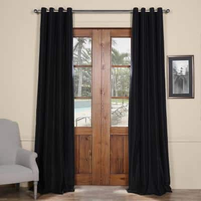 Black Solid Faux Silk Blackout Curtain - 50 in. W x 108 in. L