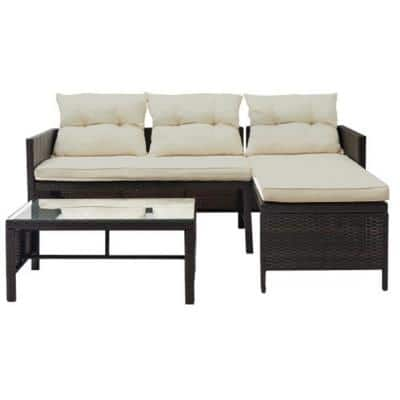 3-Piece Brown Rattan Outdoor Furniture Sofa Set with Beige Cushions