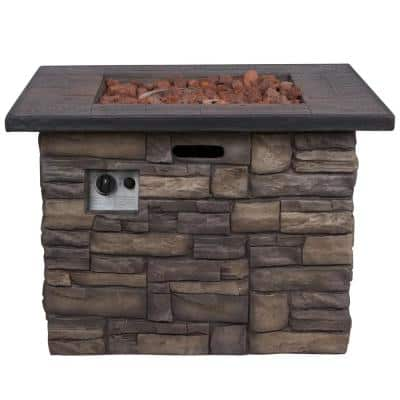 Sevilla Square Outdoor Propane Gas Stone Fire Pit Table with Lava Rock, 34.5 in. Long