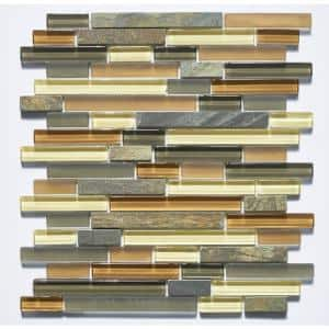 Premium Cinnamon Vanilla Linear Mosaic 12 in. x 12 in. Glass and Stone Wall Tile (11 sq. ft.)