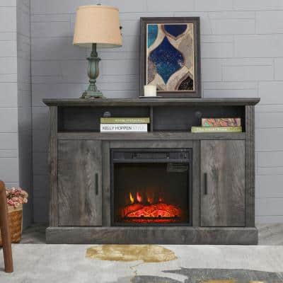 47 in. Freestanding Electric Fireplace TV Stand in Oak