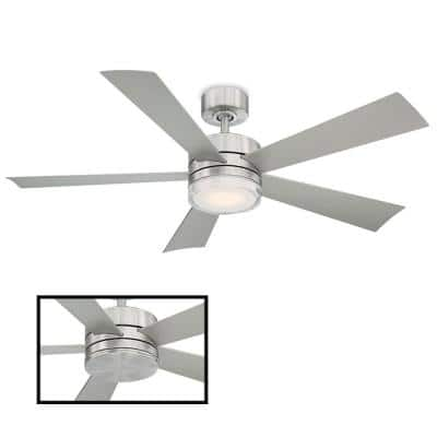 Wynd 52 in. LED Indoor/Outdoor Stainless Steel 5-Blade Smart Ceiling Fan with 3000K Light Kit and Remote