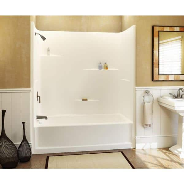 And Shower Kit With Left Hand Drain, 1 Piece Fiberglass Tub Shower