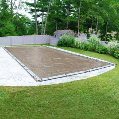 Sandstone 25 ft. x 45 ft. Rectangular Sand Solid In Ground Winter Pool Cover