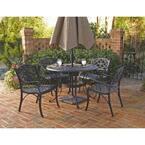 Sanibel 48 in. Black 5-Piece Cast Aluminum Round Outdoor Dining Set
