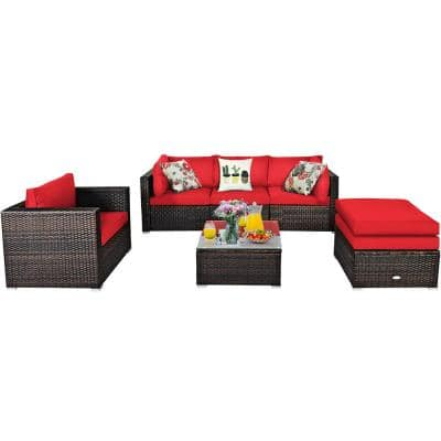 6-Piece PE Rattan Outdoor Sectional Set with CushionGuard Red Cushions