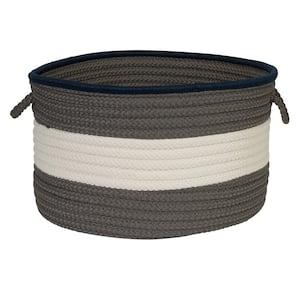 Color Pop Round Polypropylene Basket Navy/Gray 24 in. x 24 in. x 14 in.