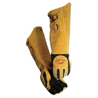 21 in. Extra Long Gold Ergonomic Stick/MIG Welding Gloves