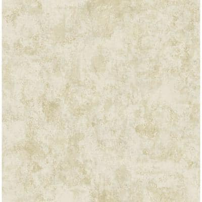 Sicily Stucco Metallic Gold and Cream Faux Paper Strippable Roll (Covers 56.05 sq. ft.)