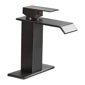 Waterfall Single Hole Single-Handle Low-Arc Bathroom Faucet With Supply Line and Escutcheon in Oil Rubbed Bronze