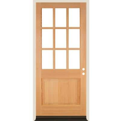 36 in. x 96 in. 9-Lite with Beveled Glass Left Hand Unfinished Douglas Fir Prehung Front Door