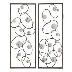 Framed Art Deco Circles Mixed Metal Media Wall Art