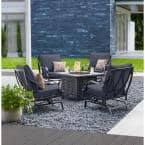 Highland Point Black Pewter 5-Piece Aluminum Outdoor Patio Fire Pit Set with CushionGuard Sky Blue Cushions