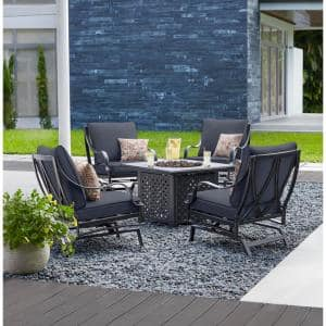 Highland Point Black Pewter 5-Piece Aluminum Outdoor Patio Fire Pit Set with CushionGuard Midnight Navy Blue Cushions