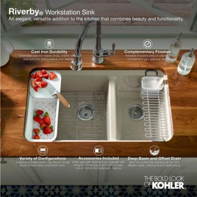 Riverby Undermount Cast Iron 25 in. 5-Hole Single Bowl Kitchen Sink in White with Basin Rack
