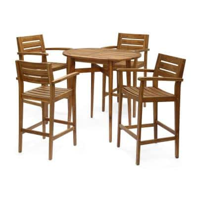 Stamford Teak Brown 5-Piece Wood Oval Bar Height Outdoor Dining Set