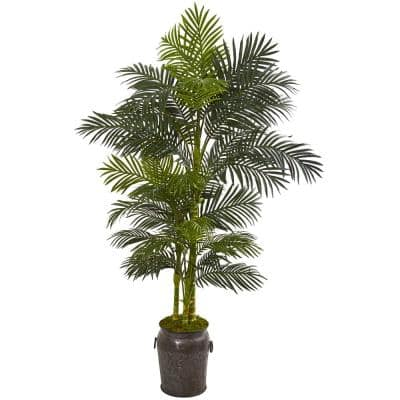 7 ft. Golden Cane Artificial Palm Tree in Decorative Planter