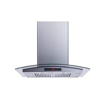 30 in. Convertible 520 CFM Island Mount Range Hood in Stainless Steel/Glass with Baffle Filters