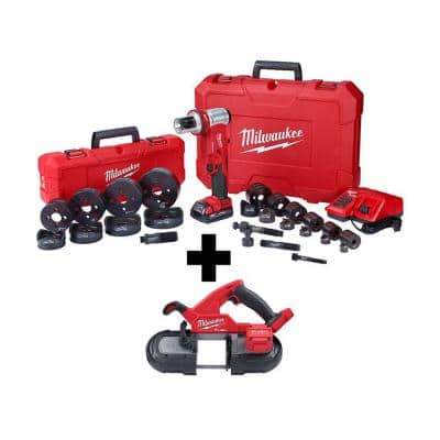 M18 18-Volt Lithium-Ion 1/2 in. to 4 in. Force Logic 6 Ton Cordless Knockout Tool Kit with FUEL Bandsaw