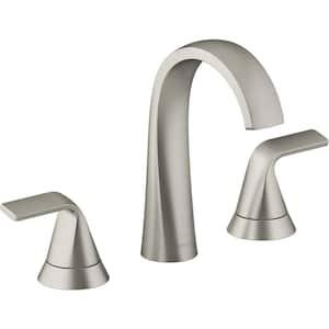 Cursiva 8 in. Widespread 2-Handle Bathroom Faucet in Vibrant Brushed Nickel
