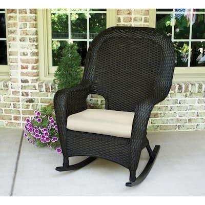 Sea Pines Tortoise Wicker Outdoor Rocking Chair with Sunbrella Canvas Canvas Cushion