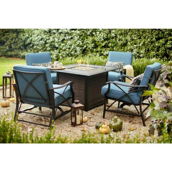 Hampton Bay River Crossing 5 Piece Aluminum And Steel Patio Gas Fire Pit Conversation Set With Sky Cushions S18a1580t The Home Depot