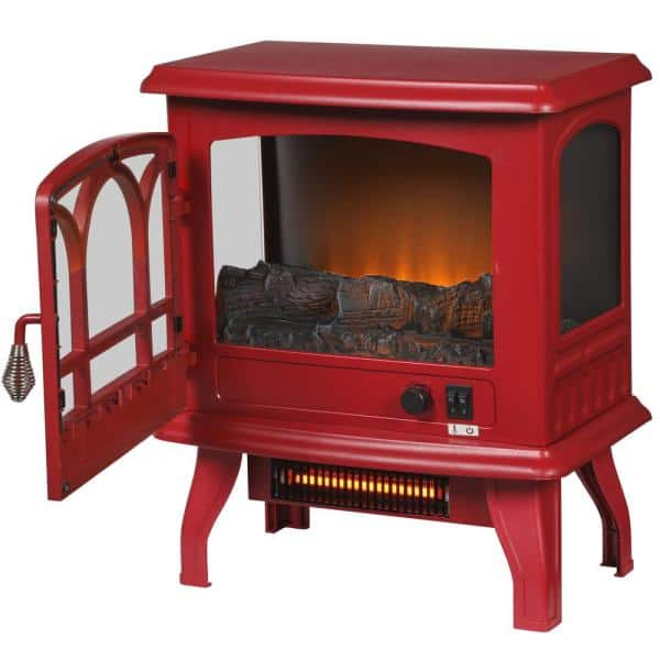 Electric Stove Infrared Heater 1000 sq ft Steel Red With Electronic Thermostat