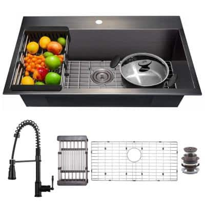All-in-One Matte Black Finished Stainless Steel 33 in. x 22 in. Drop-In Single Bowl Kitchen Sink with Spring Neck Faucet