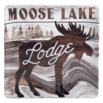12.5 in. Fluidity Lodge Square Multicolored Platter