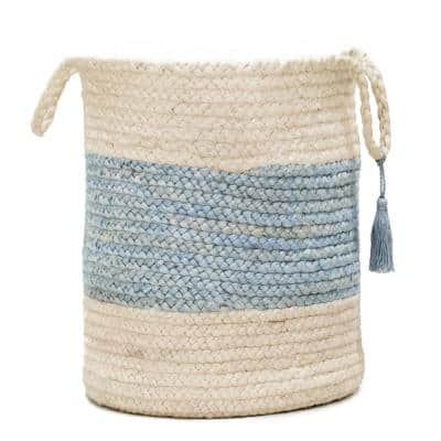Bold Striped Off-White / Spa Blue 17 in. Jute Decorative Storage Basket with Handles