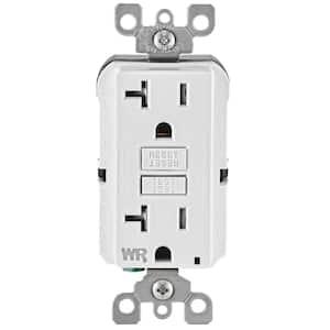 20 Amp 125-Volt Duplex Self-Test Tamper Resistant/Weather Resistant GFCI Outlet, White