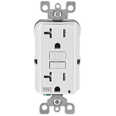 20 Amp 125-Volt Duplex Self-Test Tamper Resistant/Weather Resistant GFCI Outlet, (10-Pack) White