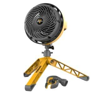 EXO5 Heavy Duty 7.5 in. Small Air Circulator Fan with Tripod Base, Yellow