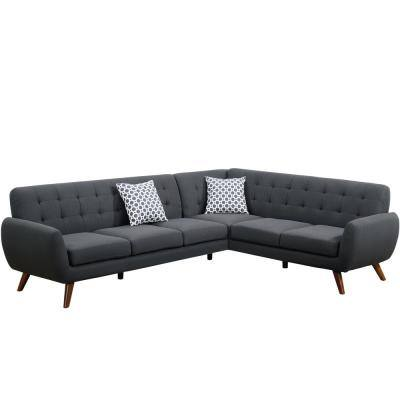 Ash Black Linen-Like Fabric 6-Seater L-Shaped Sectional Sofa with Tapered Wood Legs