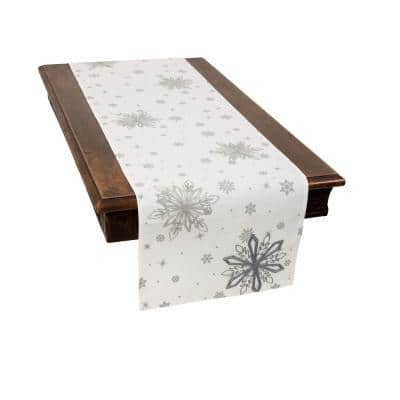0.1 in. H x 16 in. W x 70 in. D Crystal Snowflakes Embroidered Double Layer Christmas Table Runner