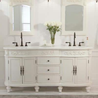 Chelsea 72 in. W Double Bath Vanity in Antique White with Marble Vanity Top in White