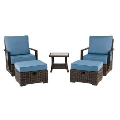 Whitfield 5-Piece Dark Brown Wicker Outdoor Patio Bistro Set with CushionGuard Steel Blue Cushions