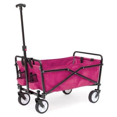 150 lbs. Weight Capacity Steel Frame Compact Folding Utility Wagon Cart with Pockets