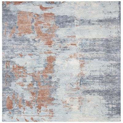 Restoration Vintage Blue/Brown 6 ft. x 6 ft. Square Abstract Area Rug