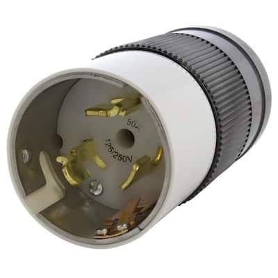 California Standard 50 Amp 125-Volt/250-Volt 4-Wires Locking Male Plug